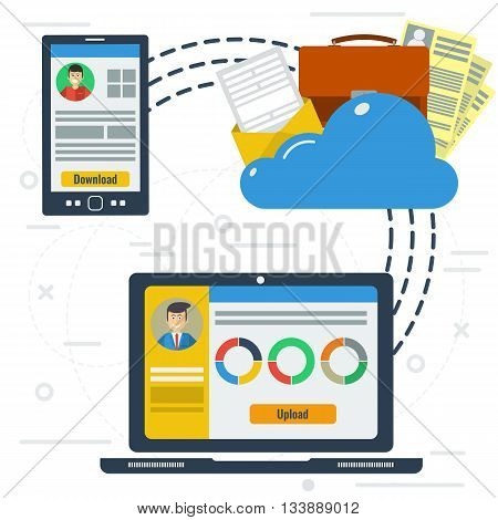 Vector concept online cloud storage. Two workers from smartphone and computer use a cloud storage documentation. Flat style. Web infographics
