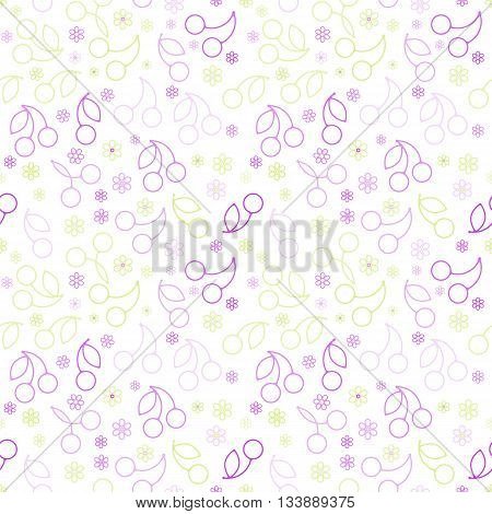 Pattern With Cherry Silhouettes On A White Background.