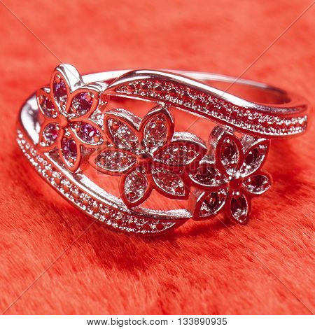 Silver Ring Decorated With Precious Stones Sapphire, Zirconia, Ruby