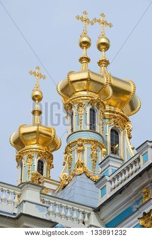 SAINT PETERSBURG, RUSSIA - APRIL 17, 2016: Three domes of the resurrection Church closeup. Catherine Palace. Religious landmark of the Tsarskoye Selo, Russia
