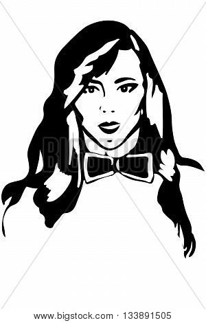 black and white vector sketch of a girl brunette in a tie butterfly