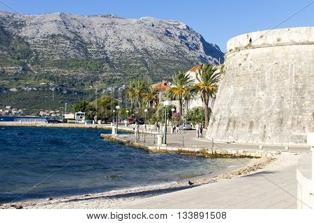 KORCULA, CROATIA - SEPTEMBER 8, 2014: Old town of Korcula in Croatia. It is a historic fortified town on the protected east coast of the island of Korcula in the Adriatic.
