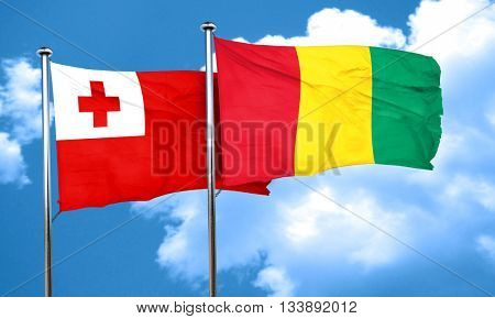 Tonga flag with Guinea flag, 3D rendering