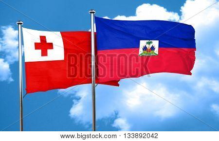 Tonga flag with Haiti flag, 3D rendering