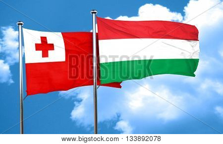 Tonga flag with Hungary flag, 3D rendering