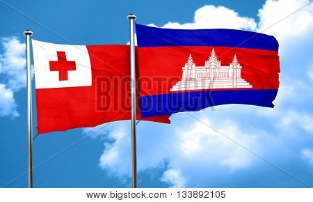 Tonga flag with Cambodia flag, 3D rendering