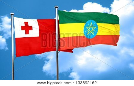Tonga flag with Ethiopia flag, 3D rendering
