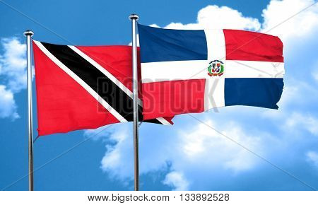 Trinidad and tobago flag with Dominican Republic flag, 3D render
