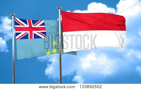Tuvalu flag with Indonesia flag, 3D rendering