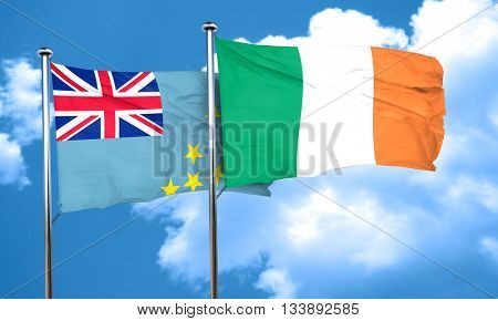 Tuvalu flag with Ireland flag, 3D rendering