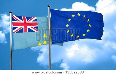 Tuvalu flag with european union flag, 3D rendering