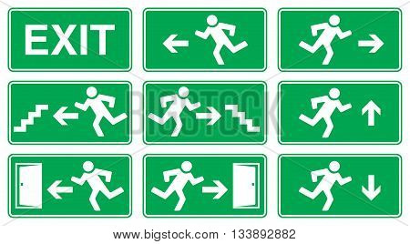 Green Emergency Exit Sign Icon and Symbol Set