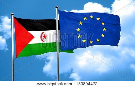 Western sahara flag with european union flag, 3D rendering