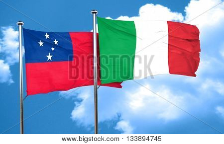 Samoa flag with Italy flag, 3D rendering