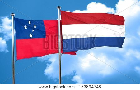 Samoa flag with Netherlands flag, 3D rendering