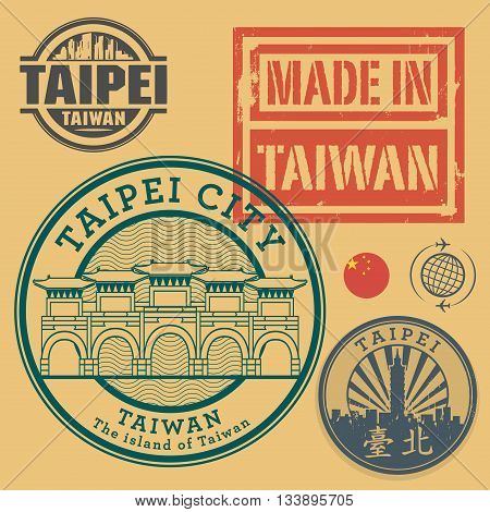 Stamp or label set with text Taipei, Taiwan (in chinese language too) inside, vector illustration