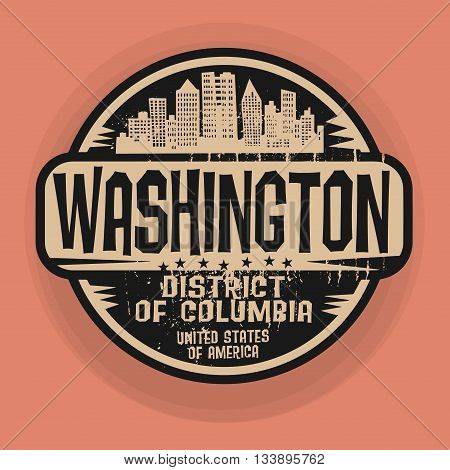 Stamp or label with name of Washington, District of Columbia, vector illustration