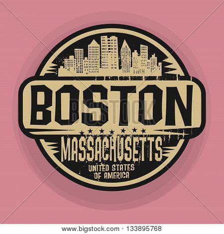 Stamp or label with name of Boston, Massachusetts, vector illustration
