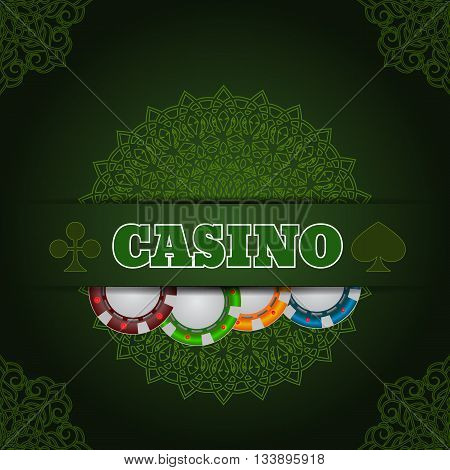 Illustartion Green Casino Background  Chip And Card With Place For Text Eps 10 Vector