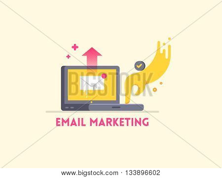 Email marketing icon concept. Laptop with hand sending a letter. Vector flat illustration.