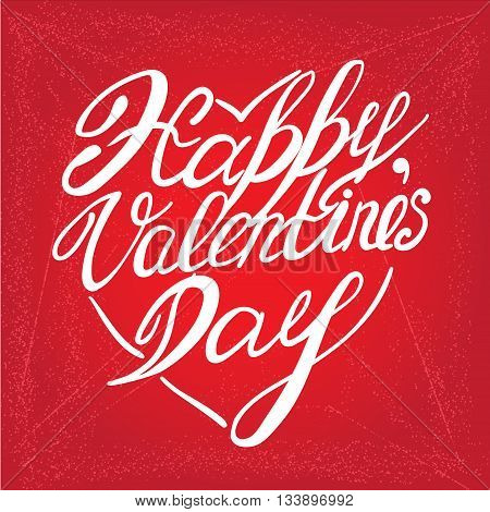 valentines day vintage lettering on red background, vector sketch