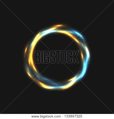 The rings of light with sparkling lines. Bokeh particles on the swirling circles. Motion element on black background glowing light. Shiny gold color dodge effect. Vector illustration.