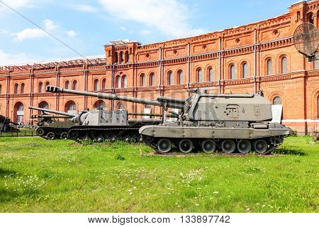ST. PETERSBURG RUSSIA - AUGUST 8 2015: 152-mm self-propelled howitzer 2S19