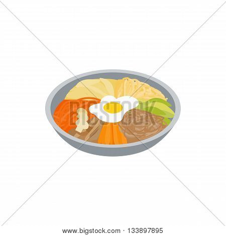 Korean food icon in isometric 3d style isolated on white background. Eating symbol