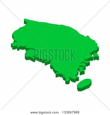 Map of South Korea icon in isometric 3d style isolated on white background. State symbol