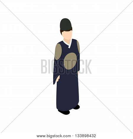 Male korean icon in isometric 3d style isolated on white background. People symbol