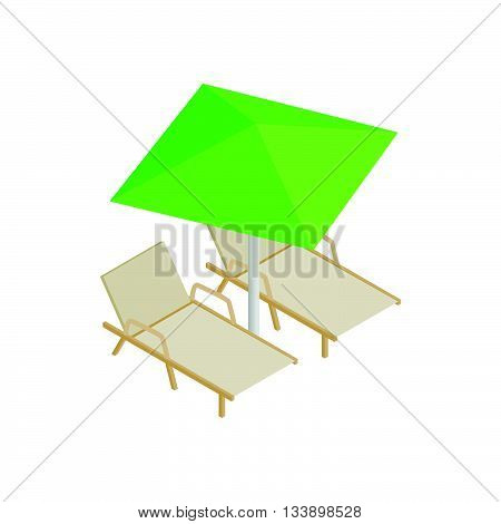 Deckchair and parasol icon in isometric 3d style isolated on white background. Relax on the beach symbol