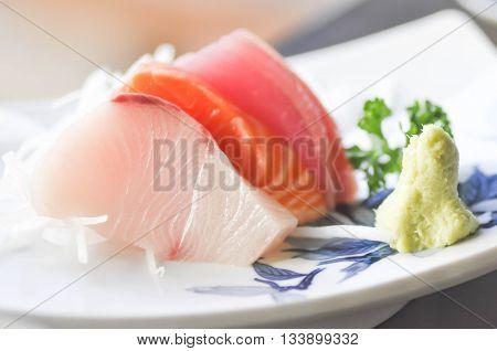 hirame sashimi salmon sashimi and tuna sashimi dish
