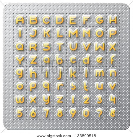 Custom creative alphabet font like row of the medical pills in blister with transparent cover and shadows