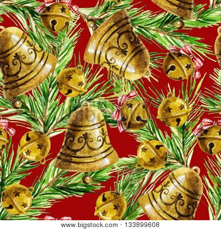 Watercolor christmas bell seamless pattern. Hand painted holiday background