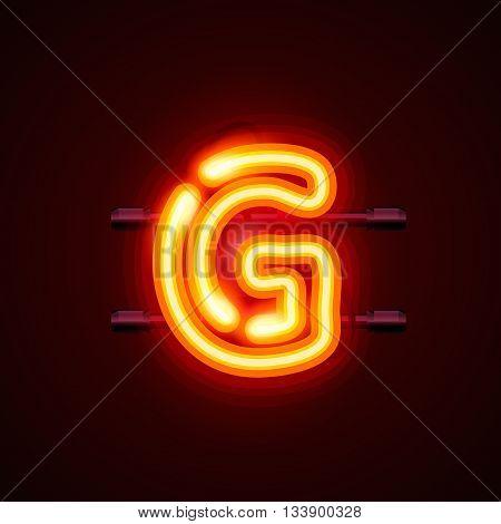 Neon font letter g, art design. Vector illustration