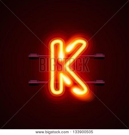 Neon font letter k, art design. Vector illustration