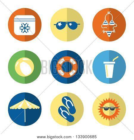 Summer flat icons with swimwear sun shoes sun umbrella. Vector illustration