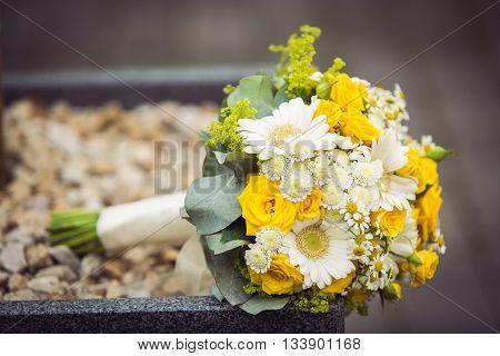 Gerbera and yellow spray roses wedding bouquet. Wedding flowers.