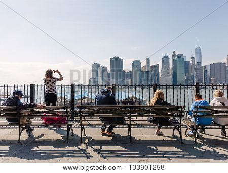 Manhattan Skyline From Brooklyn Heights Promenade