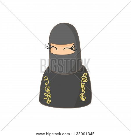 Muslim women wearing hijab icon in cartoon style on a white background