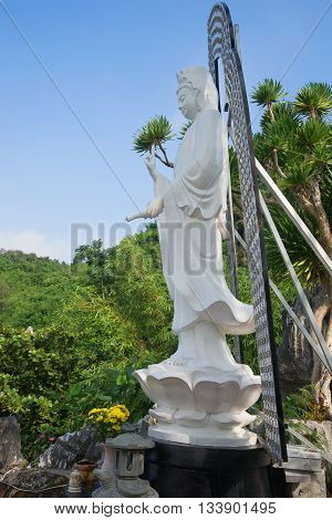 PHAN THIET, VIETNAM - JANUARY 05, 2016: Avalokitesvara bodhisattva (goddess of mercy) in the pagoda in the Marble mountains. Religious landmark of the city Da Nang, Vietnam
