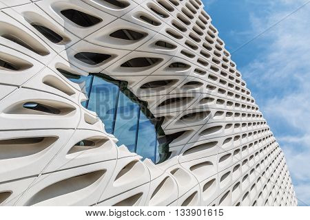 LOS ANGELES, CALIFORNIA - JUNE 5, 2016:  Architectural detail of The Broad, a contemporary art museum in Los Angeles, California, home to 2000 works of art in the Broad collection.