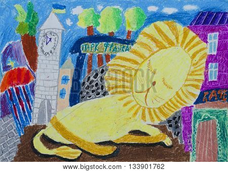 Sleeper Lion with a entourage of trees city Hall buildings. Lion is a symbol and guardian of Lviv Ukraine. Children's picture.