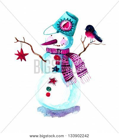 Hand painted Christmas background with snowman and bullfinch. Watercolor raster illustration