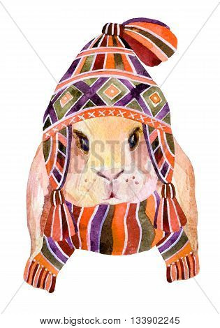 Rabbit with winter hat and scarf isolated on white background. Cute bunny in cozy knitted clothes. Watercolor winter background