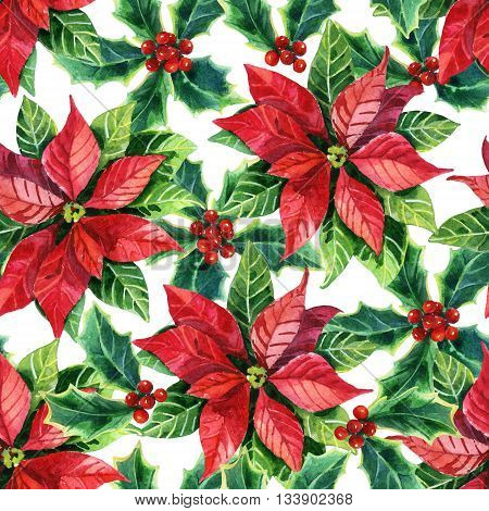 Christmas poinsettia seamless pattern, watercolor flower background