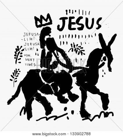 Jesus Christ riding a little donkey into Jerusalem