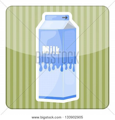 Milk pack colorful icon. Vector illustration in cartoon style