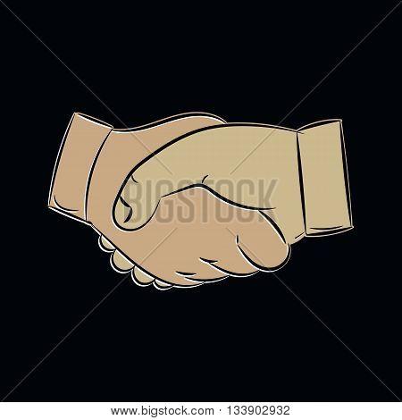 Vector handshake icon on black background. Handshake in cartoon style