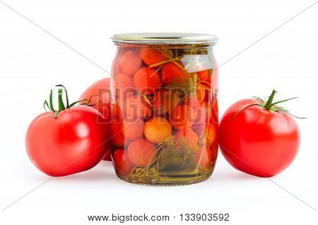 Red pickled and fresh tomatoes isolated on white background